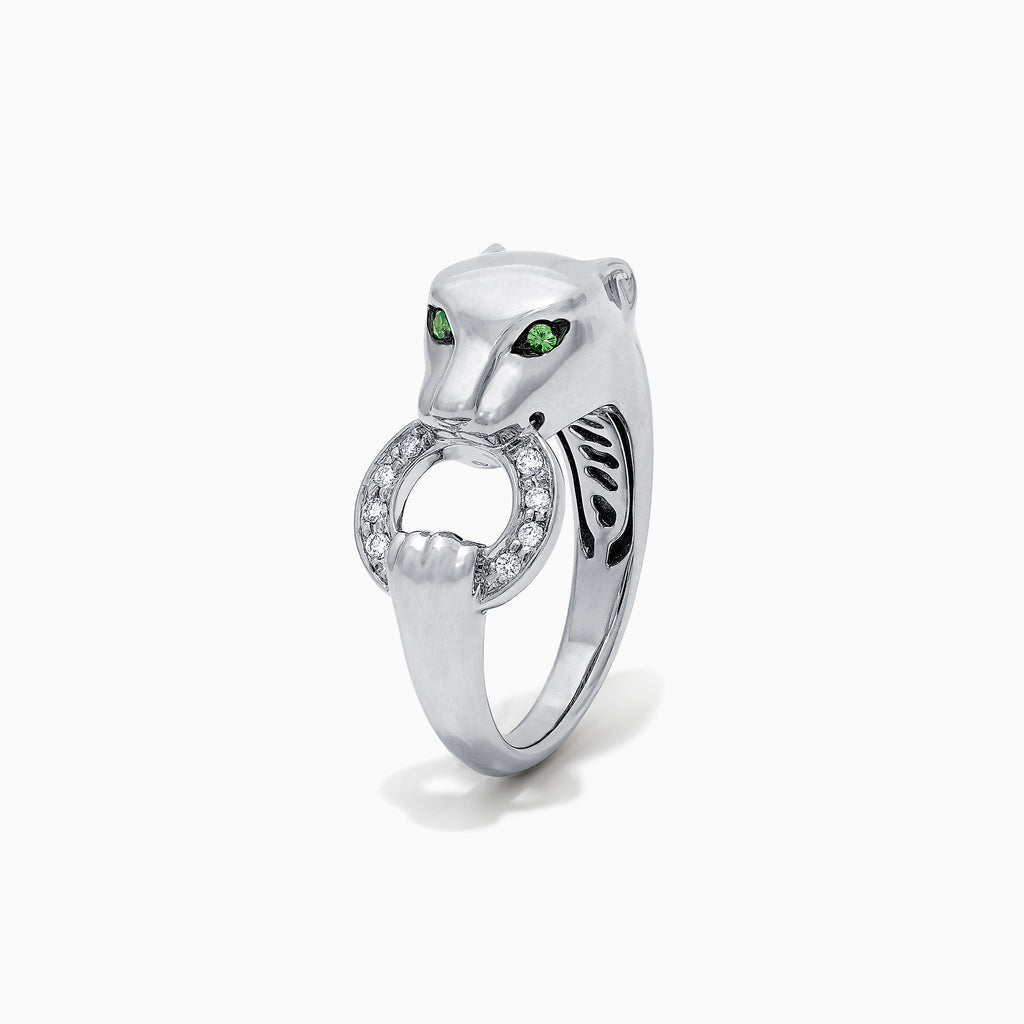 Effy Signature Sterling Silver Diamond and Tsavorite Panther Ring, 0.13 TCW