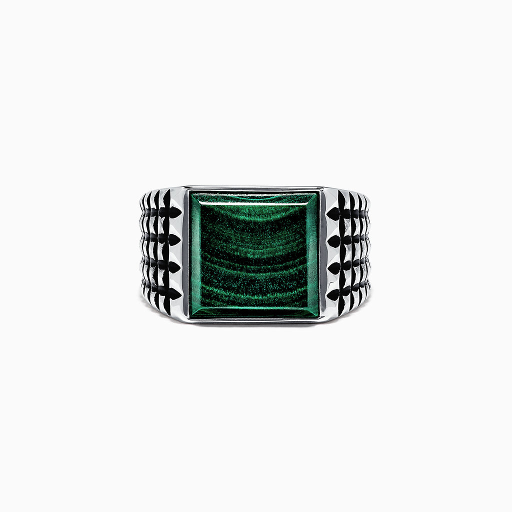 Effy Men's Sterling Silver and Malachite Ring, 5.40 TCW