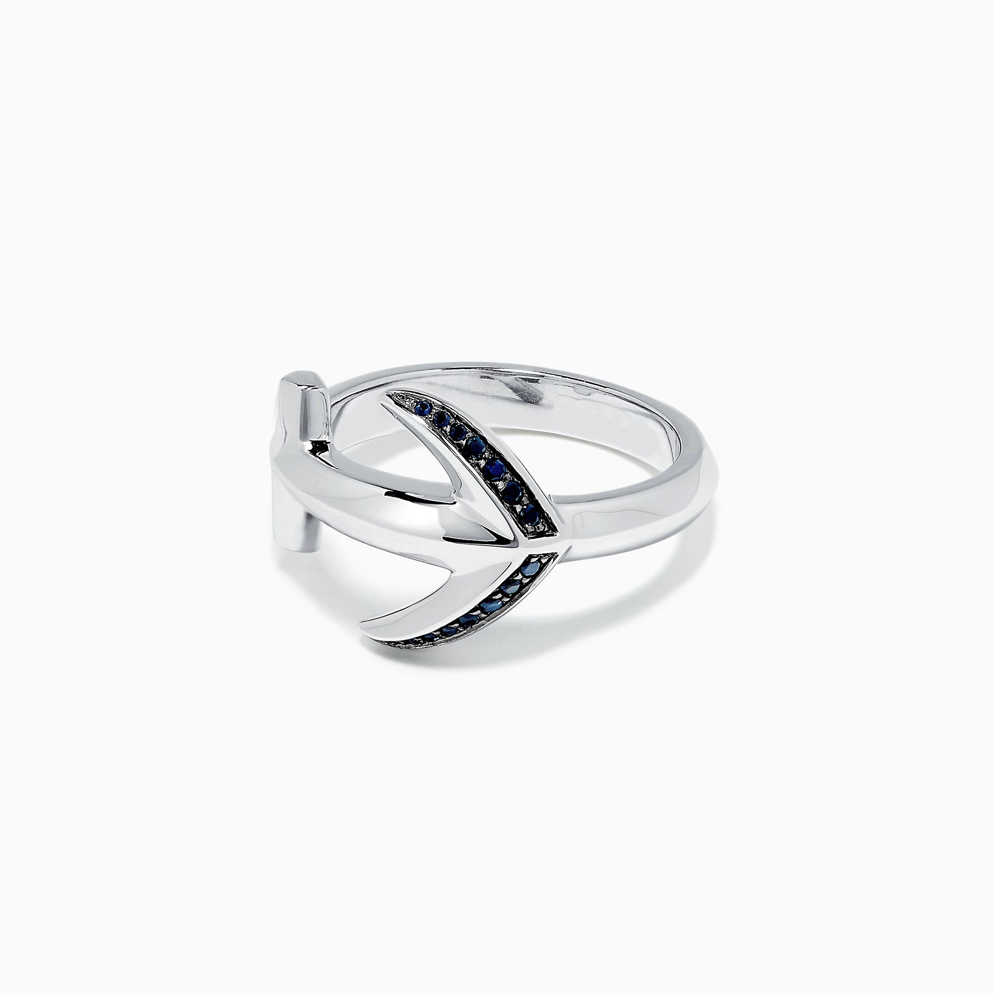 Effy Men's Sterling Silver and Black Sapphire Anchor Ring, 0.14 TCW