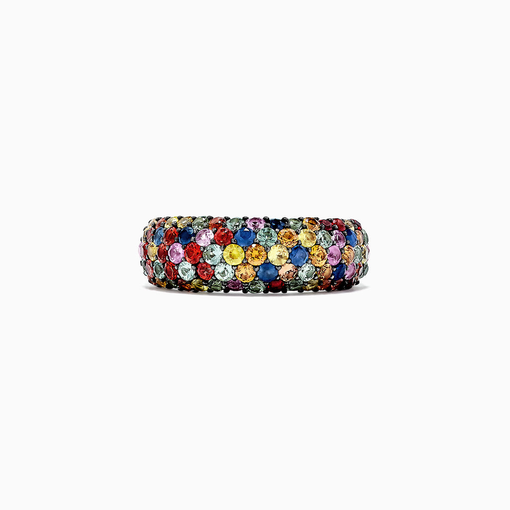 Effy 925 Sterling Silver Multi Sapphire Splash Ring, 2.55 TCW