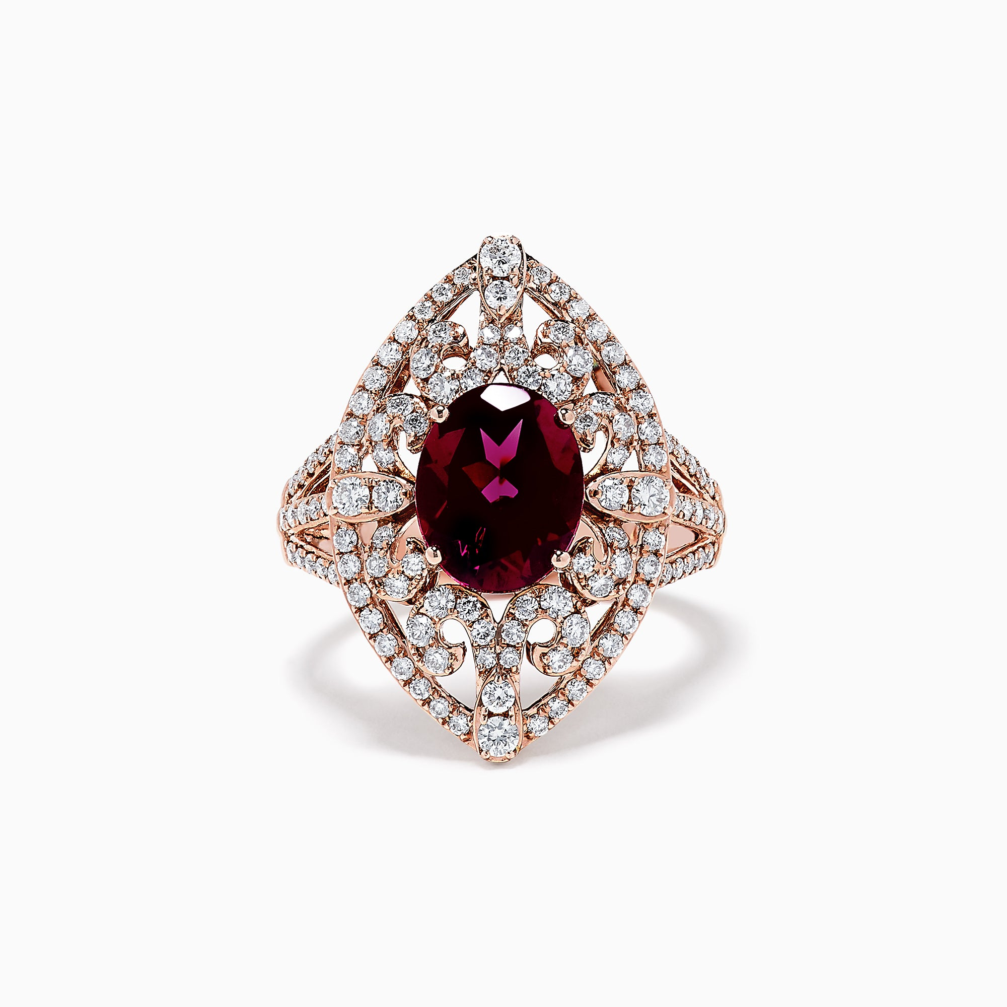 Effy 14K Rose Gold Rhodolite and Diamond Ring, 3.83 TCW