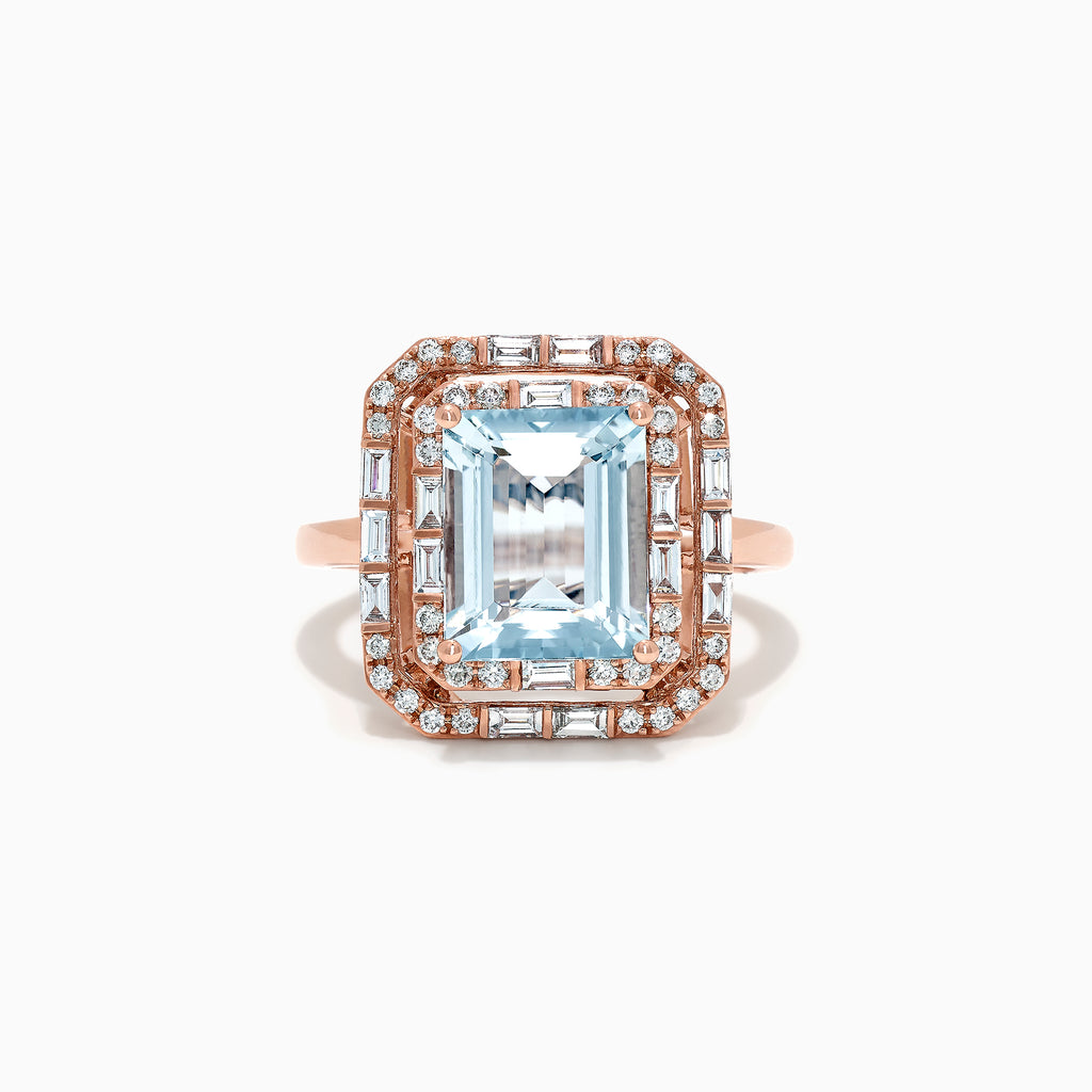 Effy Aquarius 14K Rose Gold Aquamarine and Diamond Ring, 3.50 TCW