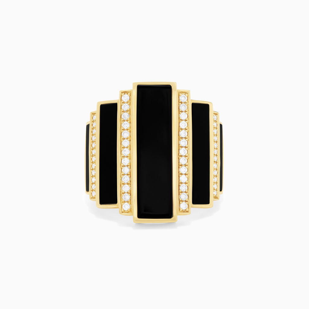 Effy Eclipse 14K Yellow Gold Onyx and Diamond Ring, 5.56 TCW