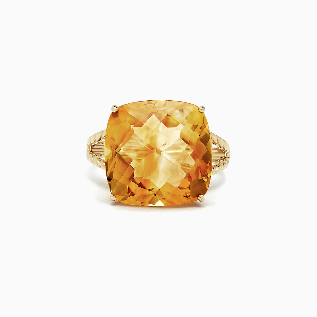 Effy Sunset 14K Yellow Gold Citrine Ring, 13.90 TCW