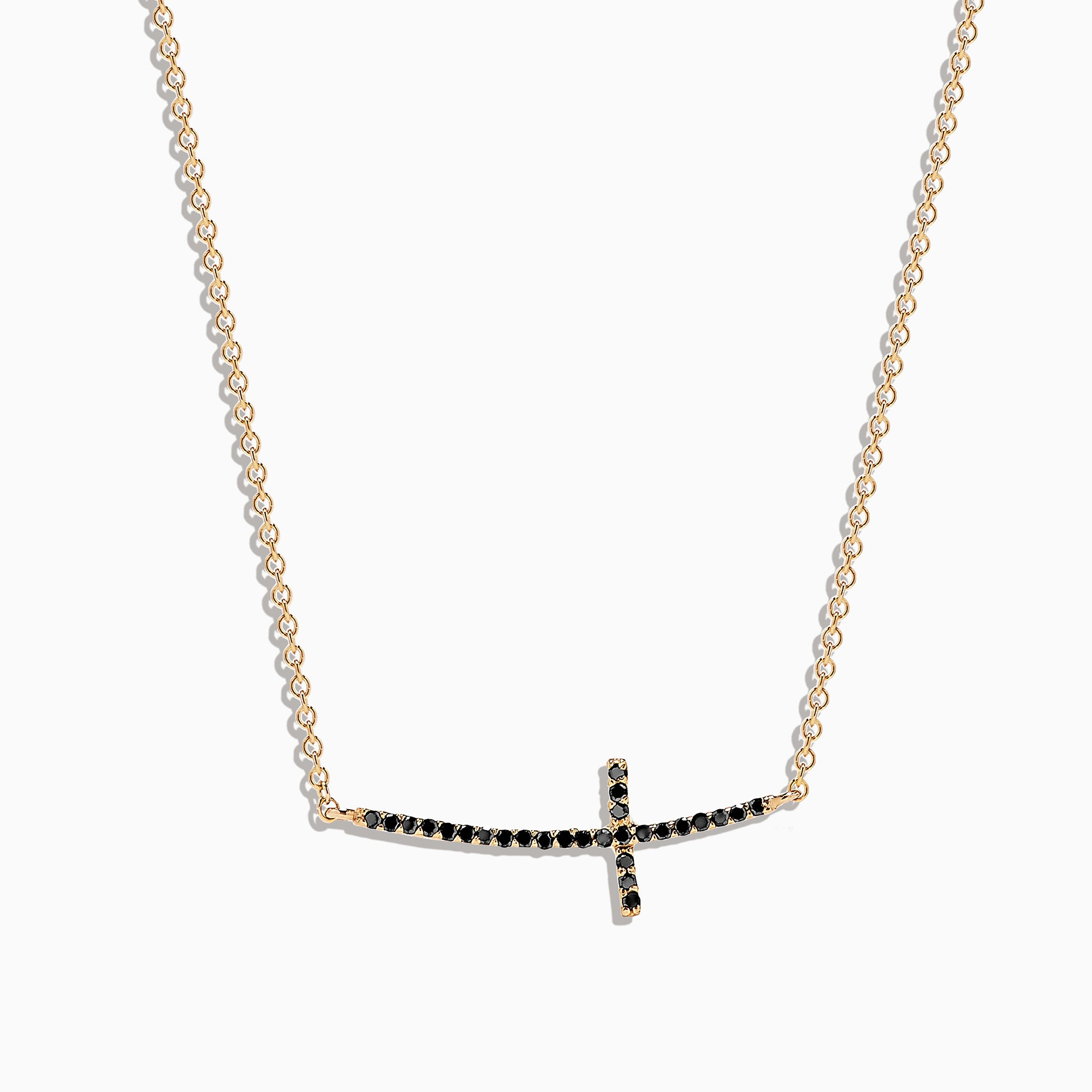 Effy 14K Yellow Gold Black Diamond Cross Necklace, 0.11 TCW