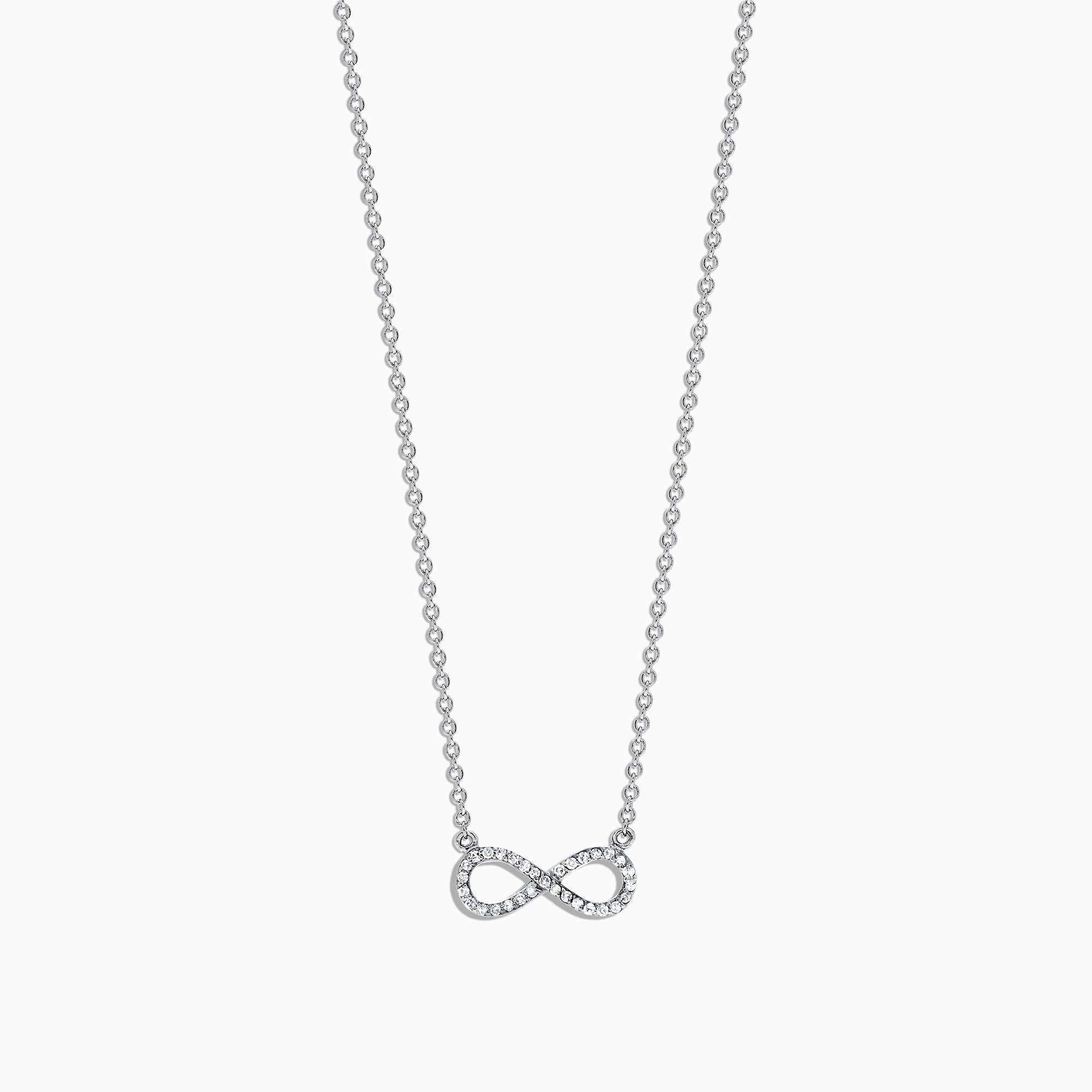 Effy Novelty 14K White Gold Diamond Infinity Necklace, 0.09 TCW