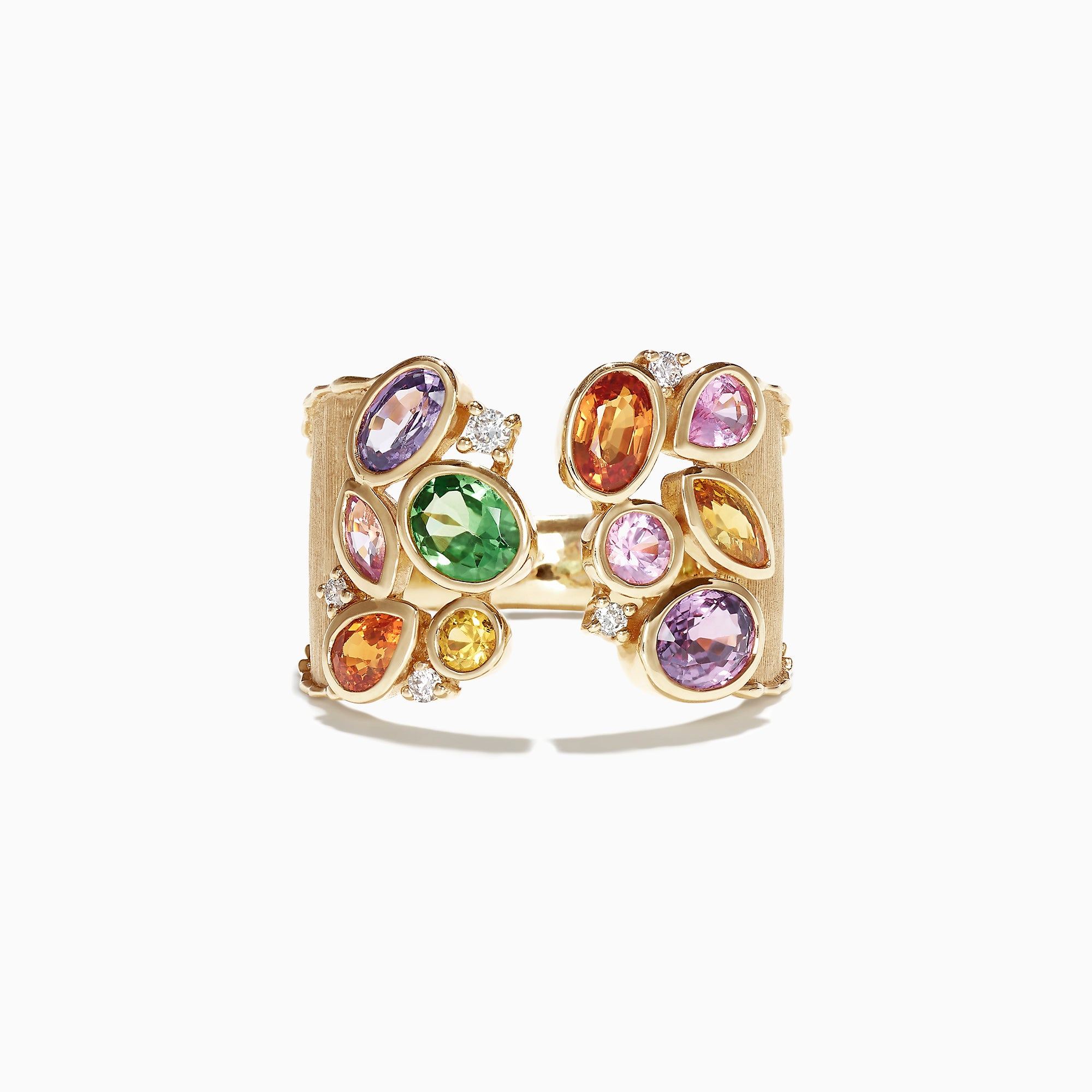 Effy Watercolors 14K Yellow Gold Multi Sapphire and Diamond Ring, 2.46 TCW