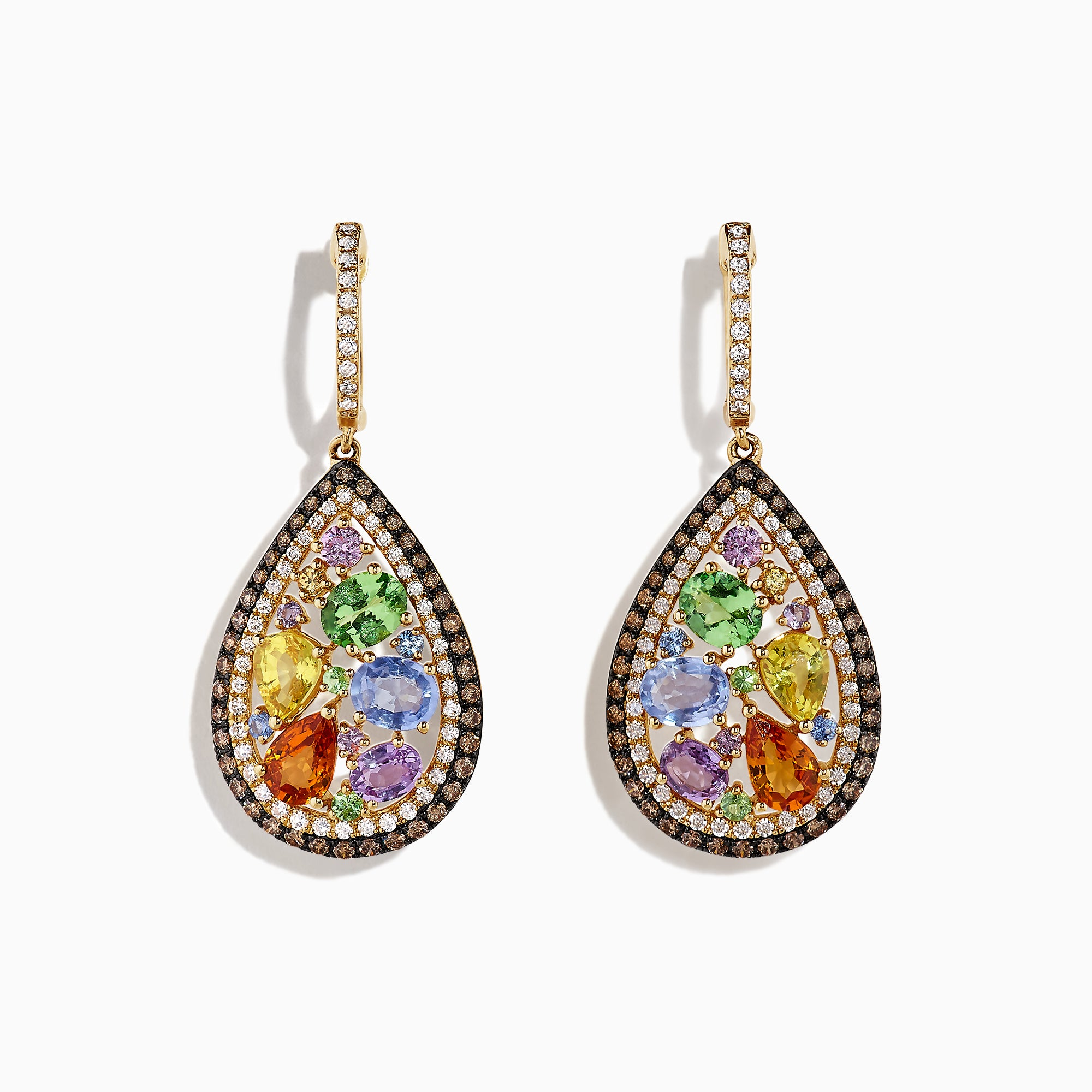 Effy Watercolors 14K Yellow Gold Multi Sapphire & Diamond Earrings, 5.13 TCW