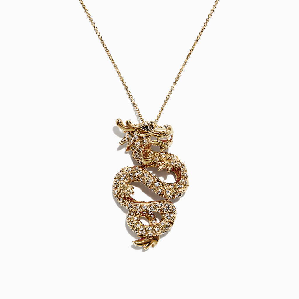 Effy Safari 14K Yellow Gold Diamond Dragon Pendant, 0.59 TCW