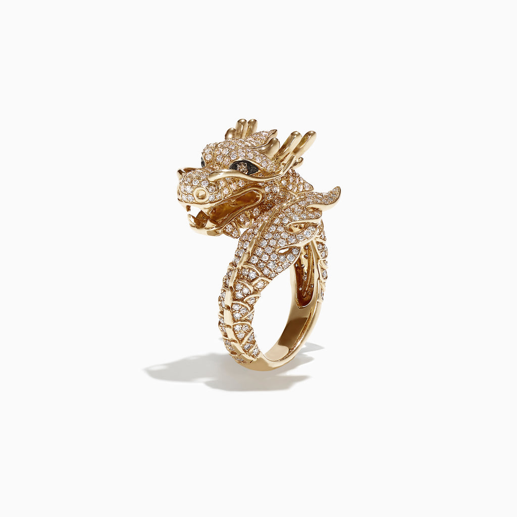 Effy Safari 14K Yellow Gold Diamond Dragon Ring, 1.39 TCW
