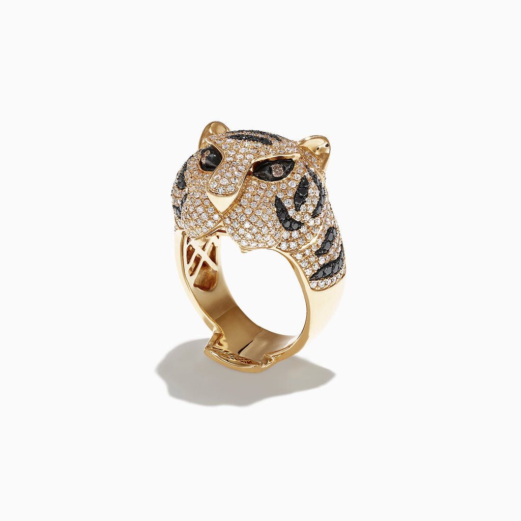 Effy Safari 14k Yellow Gold Black and White Diamond Tiger Ring, 1.85 TCW