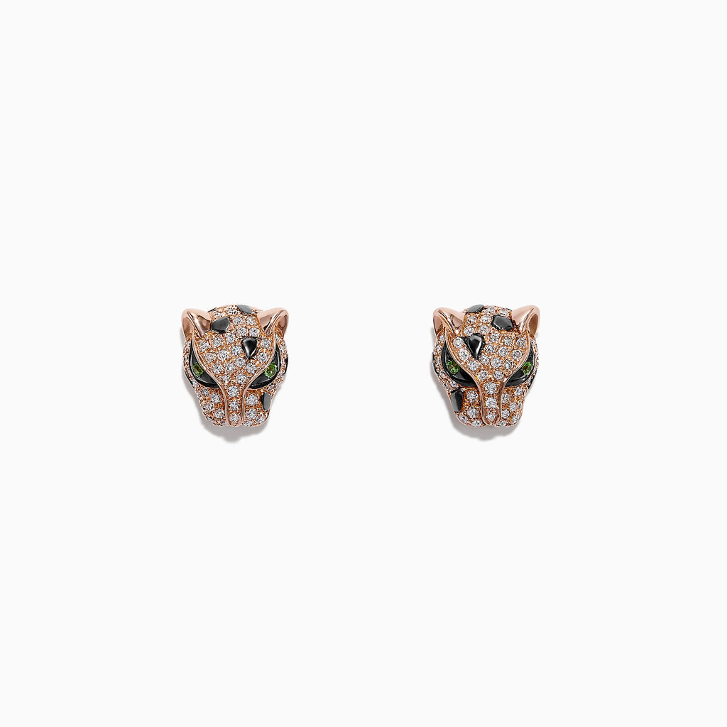 Effy Signature 14K Rose Gold Diamond and Tsavorite Stud Earrings, 0.49 TCW