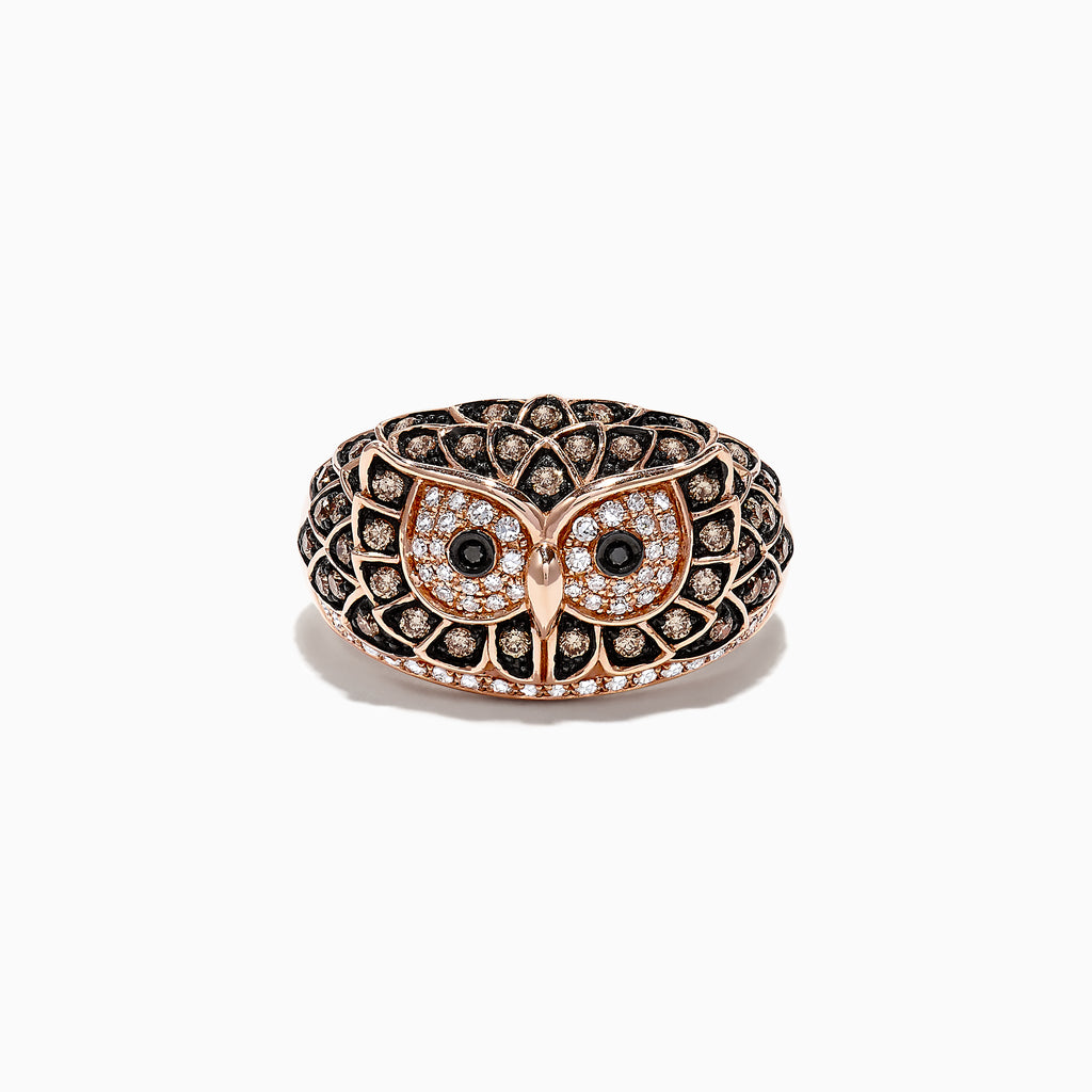 Effy Safari 14K Rose Gold Diamond Owl Ring, 0.72 TCW
