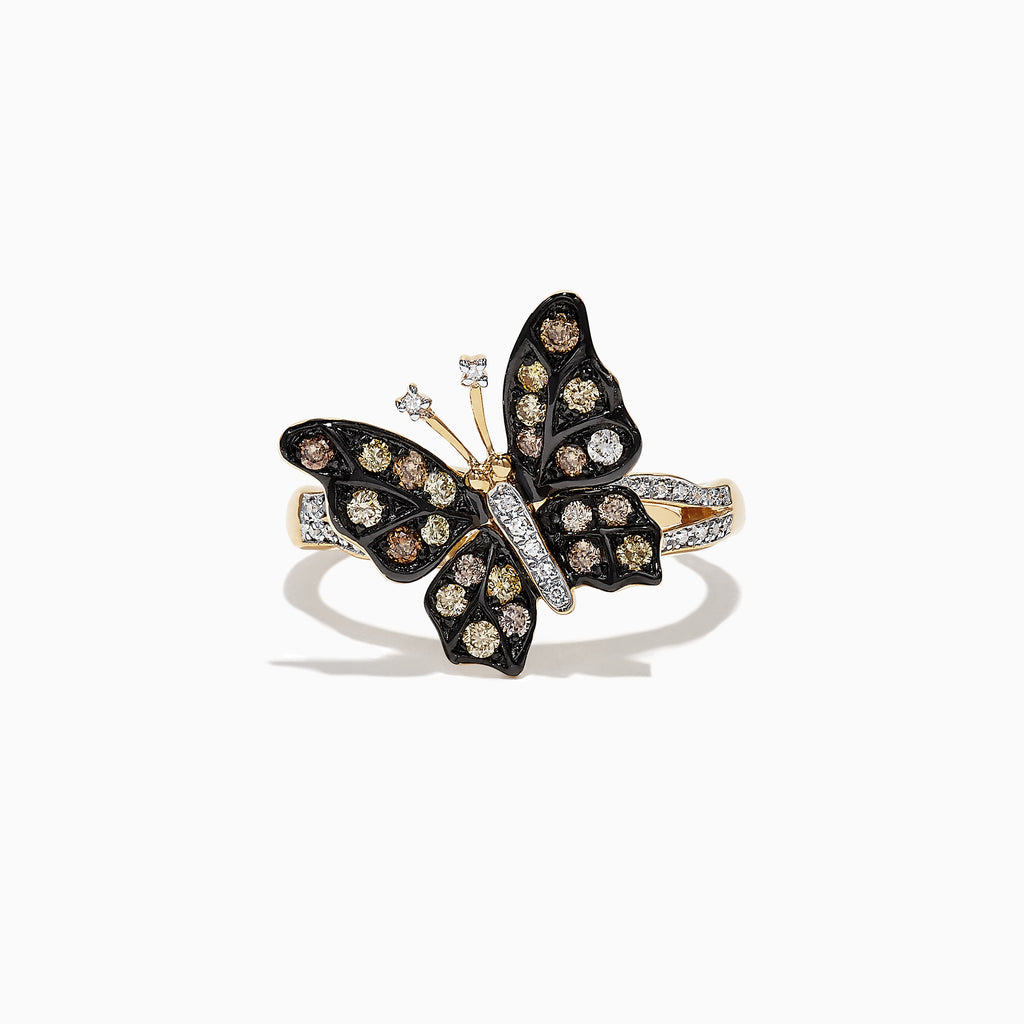 Effy Nature 14K Yellow Gold Cognac & White Diamond Butterfly Ring, 0.45 TCW