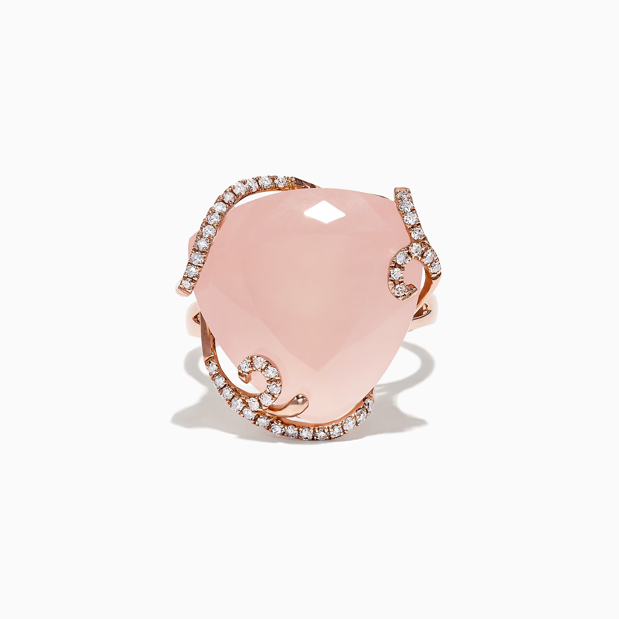 14K Rose Gold Diamond and Rose Quartz Ring, 16.45 TCW