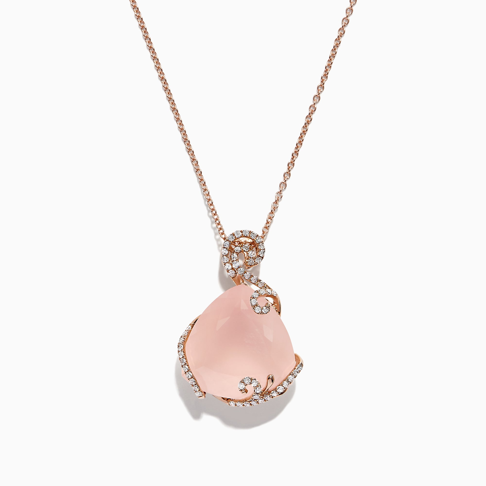 14K Rose Gold Rose Quartz and Diamond Pendant, 16.18 TCW