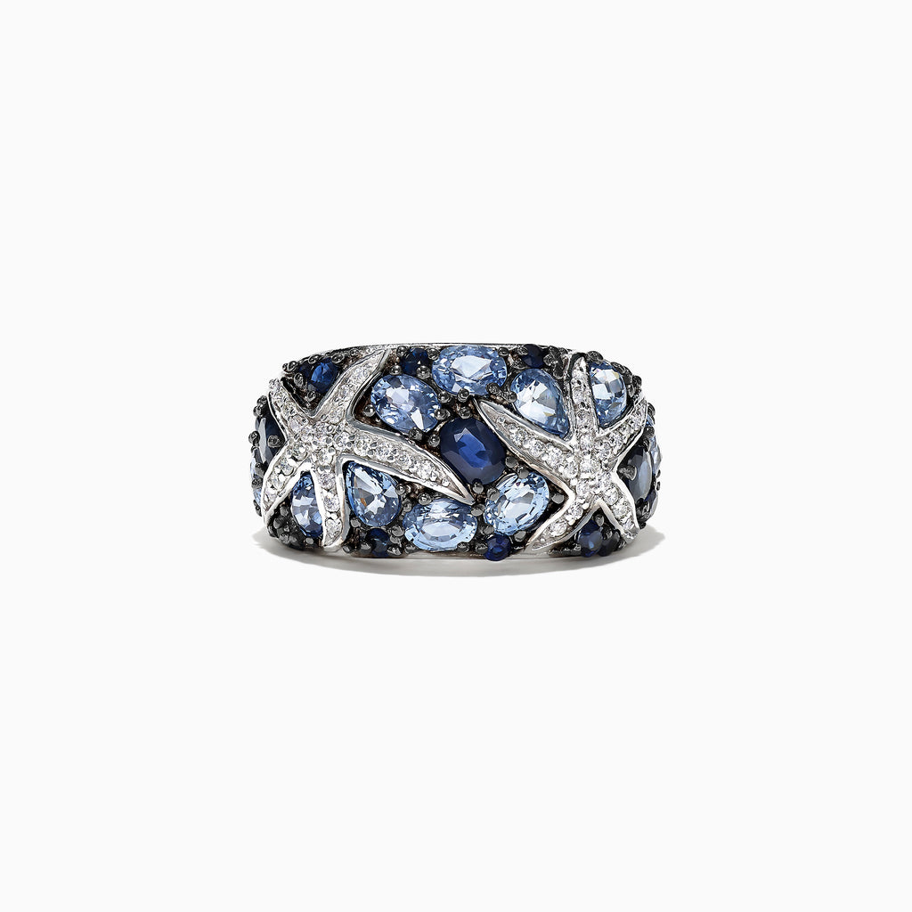 Effy Seaside 14K White Gold Sapphire & Diamond Starfish Ring, 3.71 TCW
