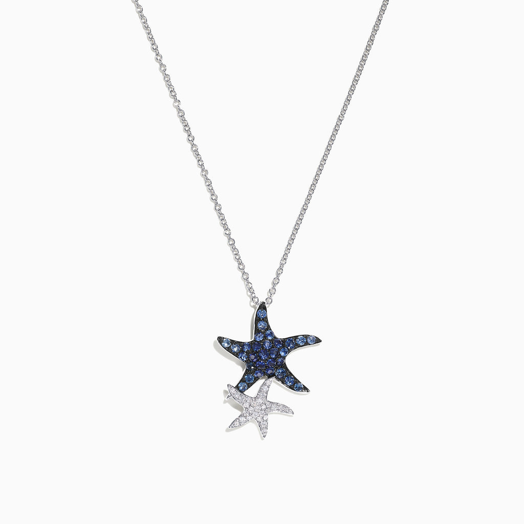 Effy Seaside 14K White Gold Blue Sapphire & Diamond Starfish Pendant