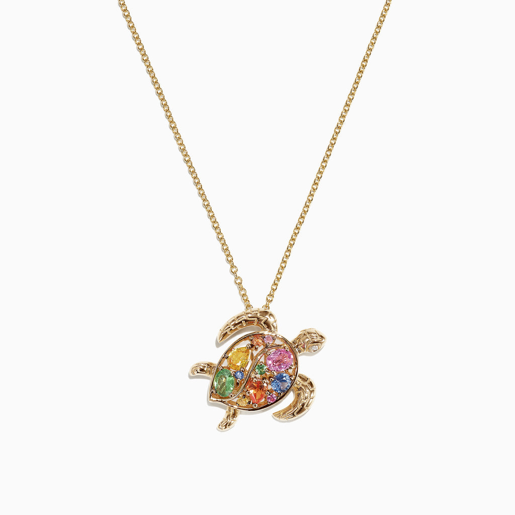 Effy Watercolors 14K Gold Sapphire & Diamond Turtle Pendant, 0.99 TCW