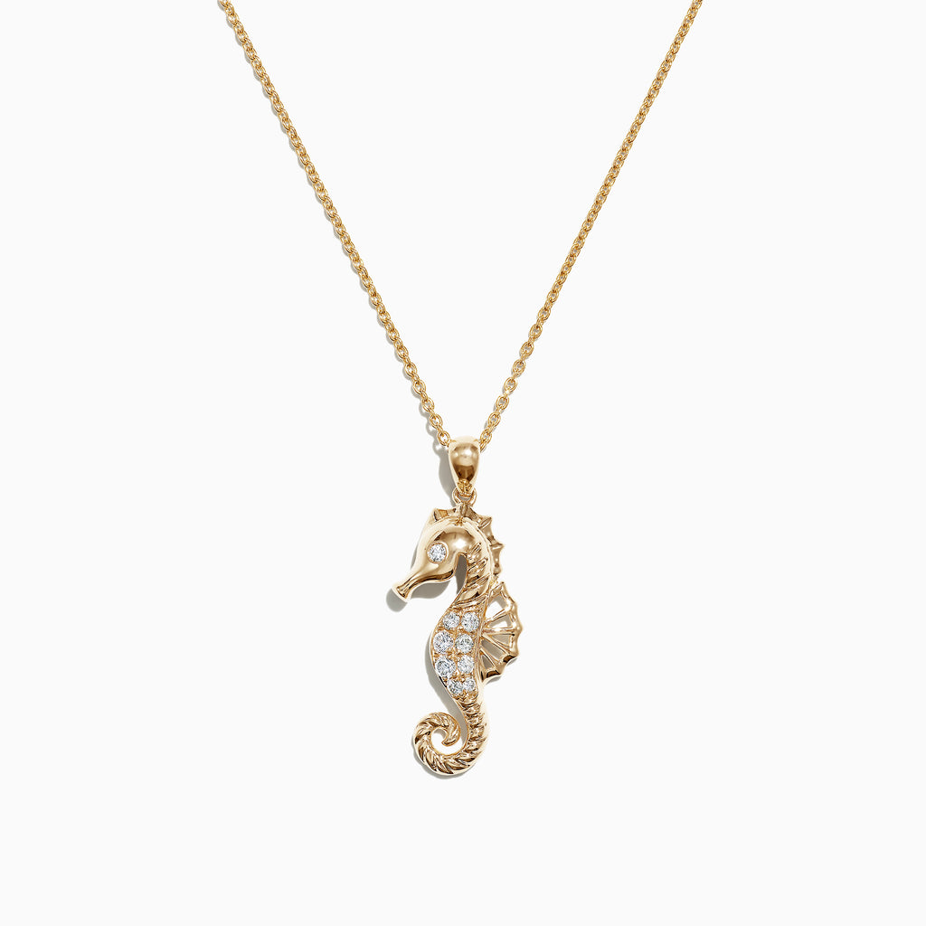 Effy Seaside 14K Yellow Gold Diamond Seahorse Pendant, 0.15 TCW