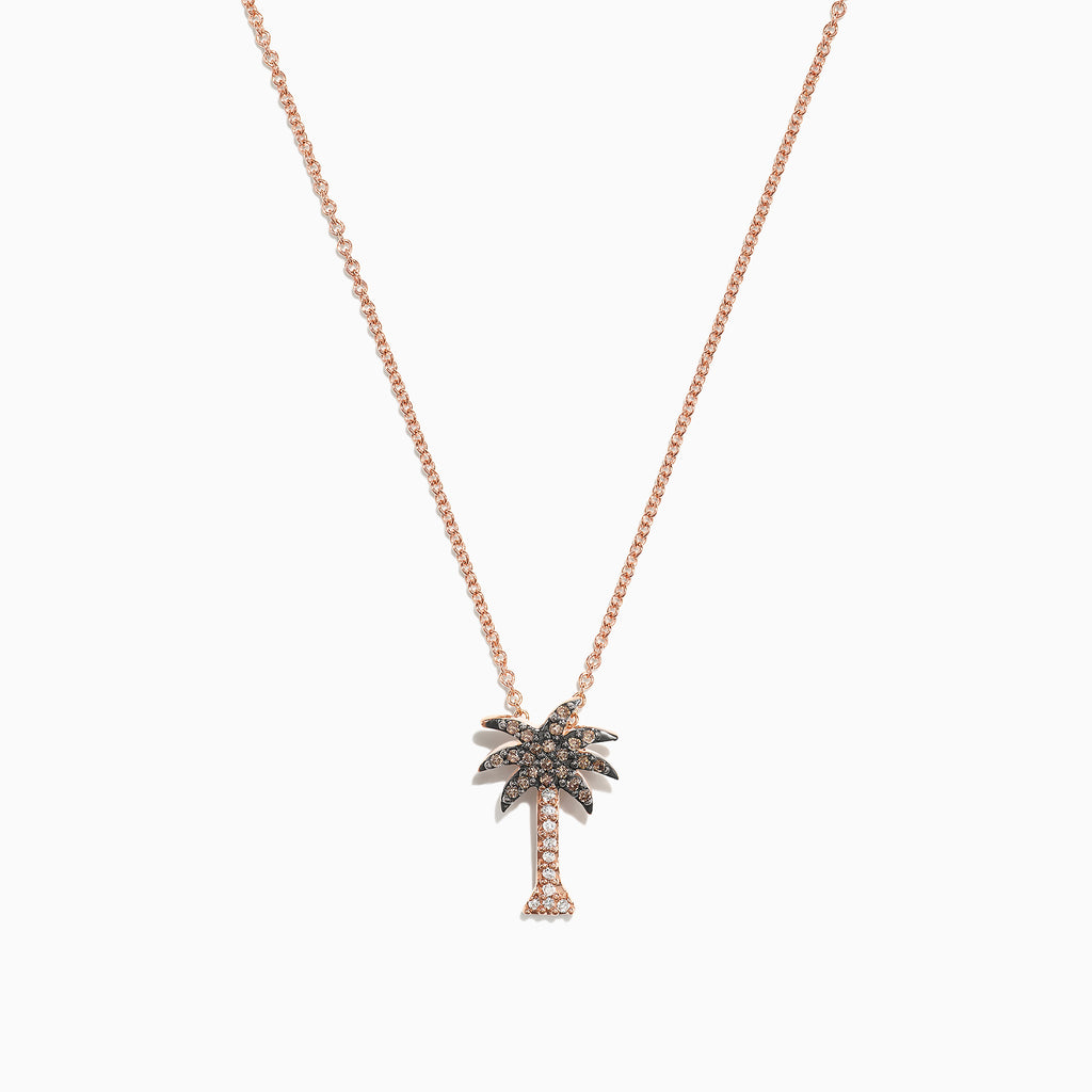 Effy Novelty 14K Rose Gold Diamond Palm Tree Pendant, 0.10 TCW