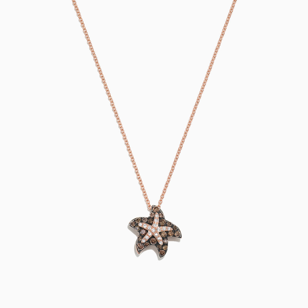 Effy Seaside 14K Gold Espresso & White Diamond Starfish Pendant, 0.36 TCW