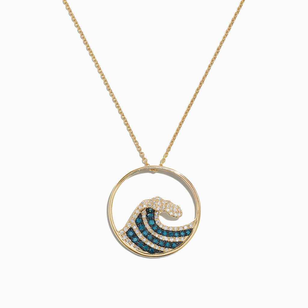 Effy Seaside 14K Yellow Gold Blue & White Diamond Wave Pendant, 0.53 TCW