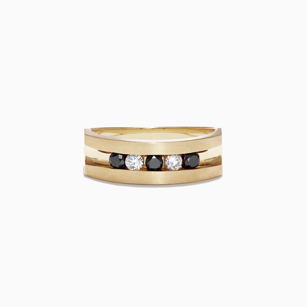 Effy Mens 14K Yellow Gold Black and White Diamond Ring, 0.49 TCW