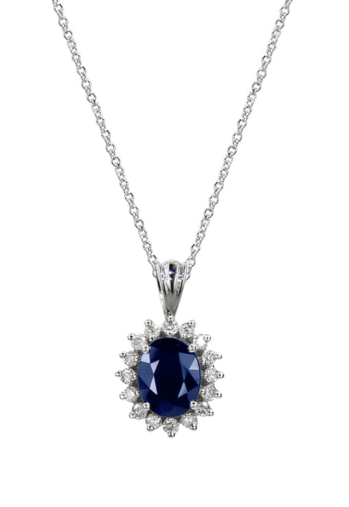 Effy Royalty 14K White Gold Blue Sapphire and Diamond Pendant, 2.29 TCW