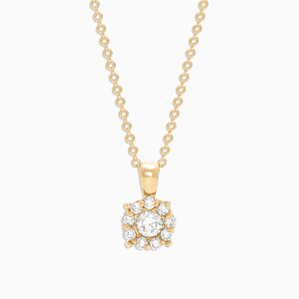 Effy Bouquet 14K Yellow Gold Diamond Cluster Pendant, 0.47 TCW