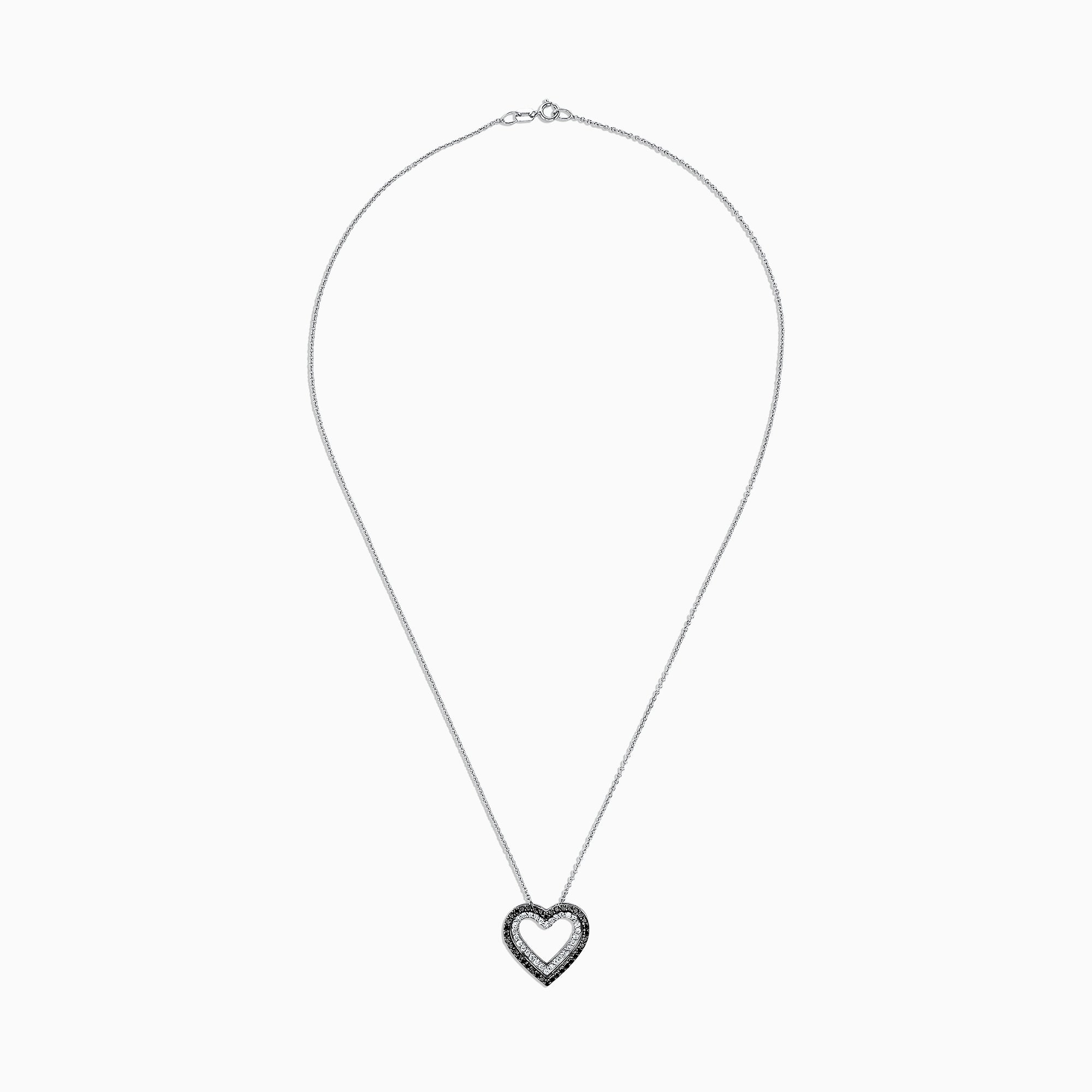 Effy 14K White Gold Black and White Diamond Heart Pendant, 0.50 TCW