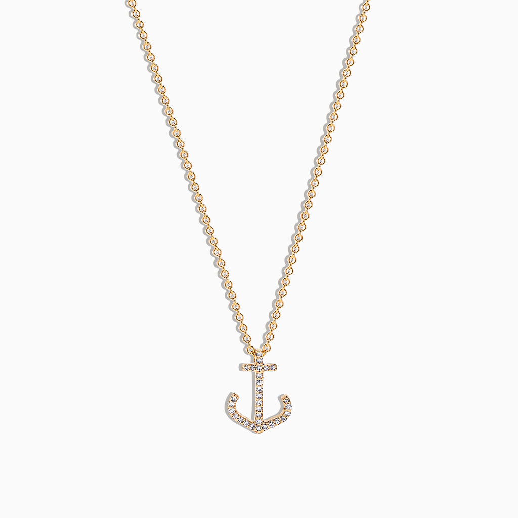 Effy Seaside 14K Yellow Gold Diamond Anchor Pendant, 0.09 TCW