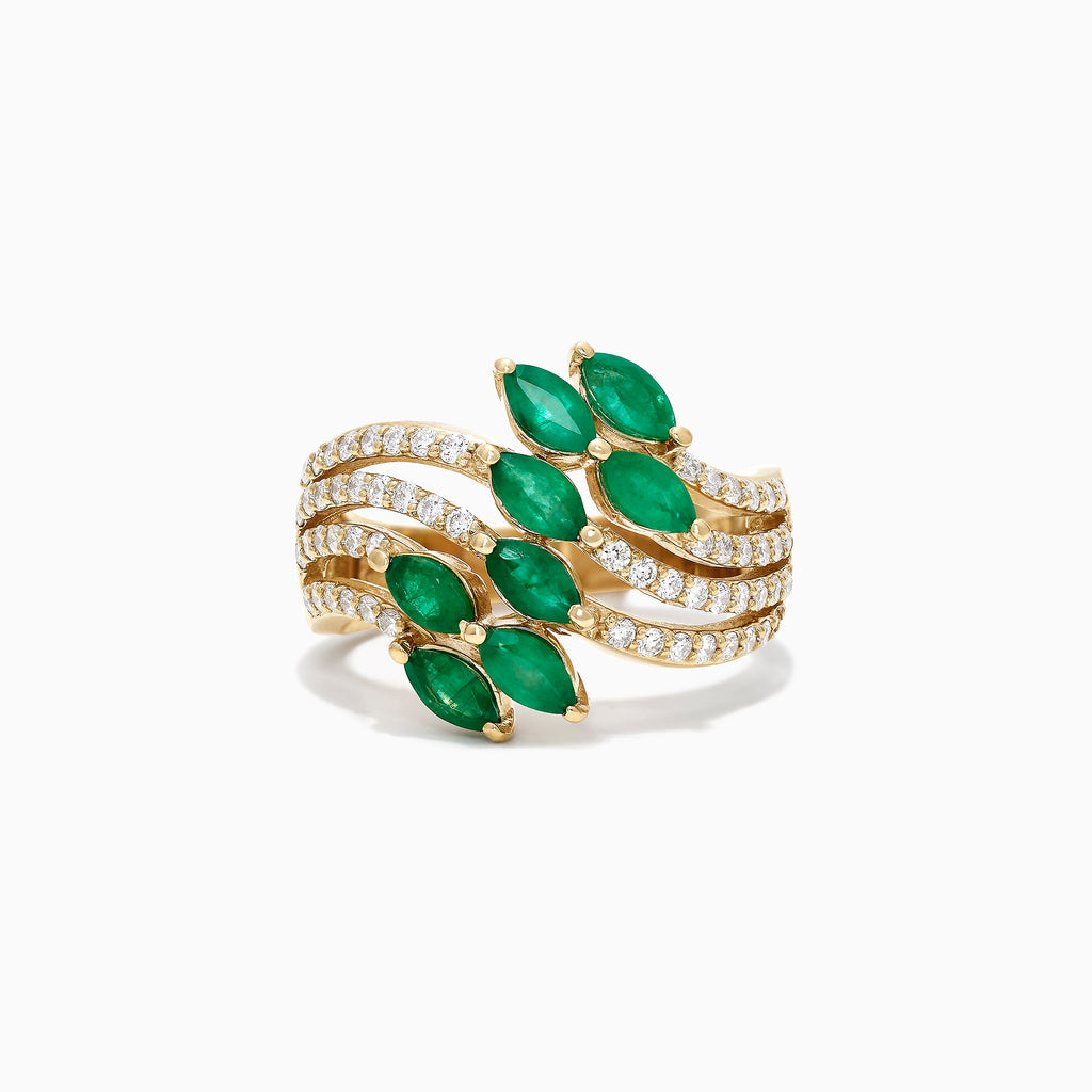 Effy Brasilica 14K Yellow Gold Emerald and Diamond Ring, 1.86 TCW