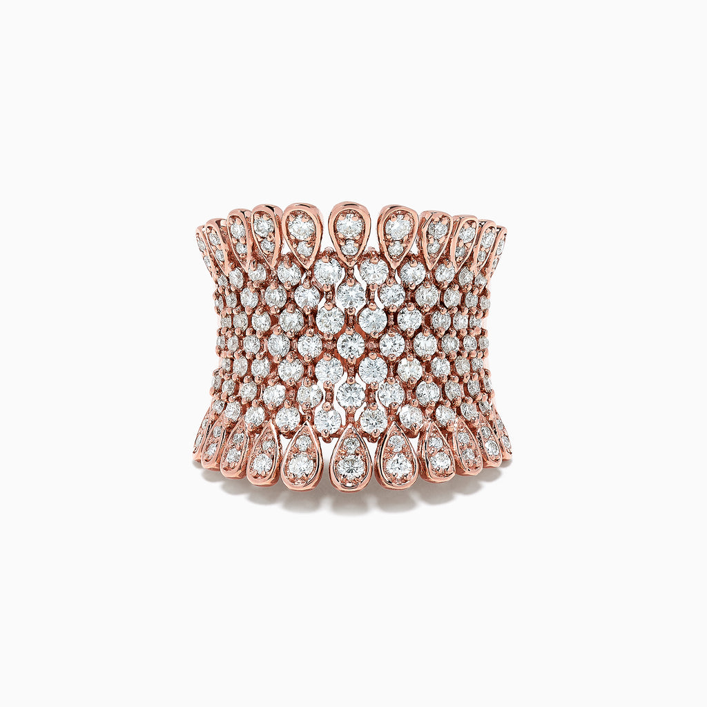Effy Pave Rose 14K Rose Gold Diamond Ring, 1.75 TCW