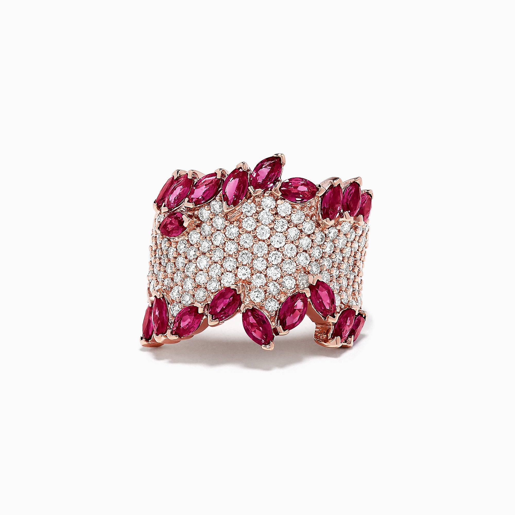 Effy 14K Rose Gold Ruby and Diamond Ring, 4.66 TCW