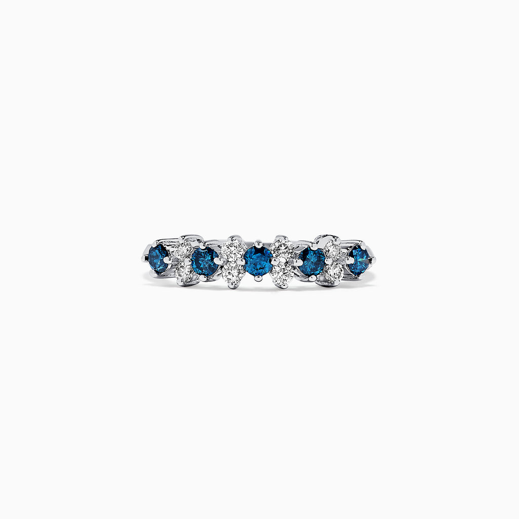 Effy Bella Bleu 14K White Gold Blue and White Diamond Ring, 0.58 TCW