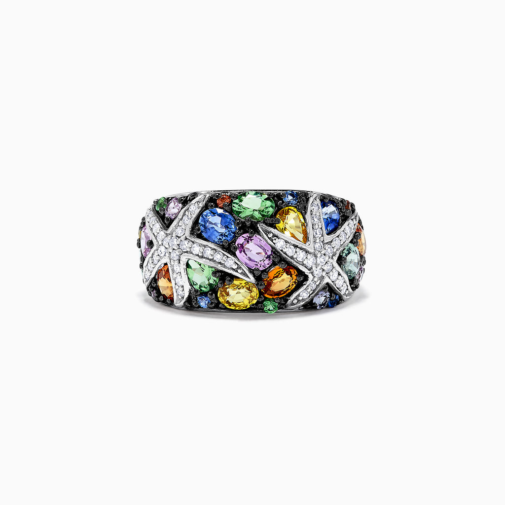 Effy Watercolors 14K White Gold  Multi Sapphire and Diamond Ring, 3.75 TCW