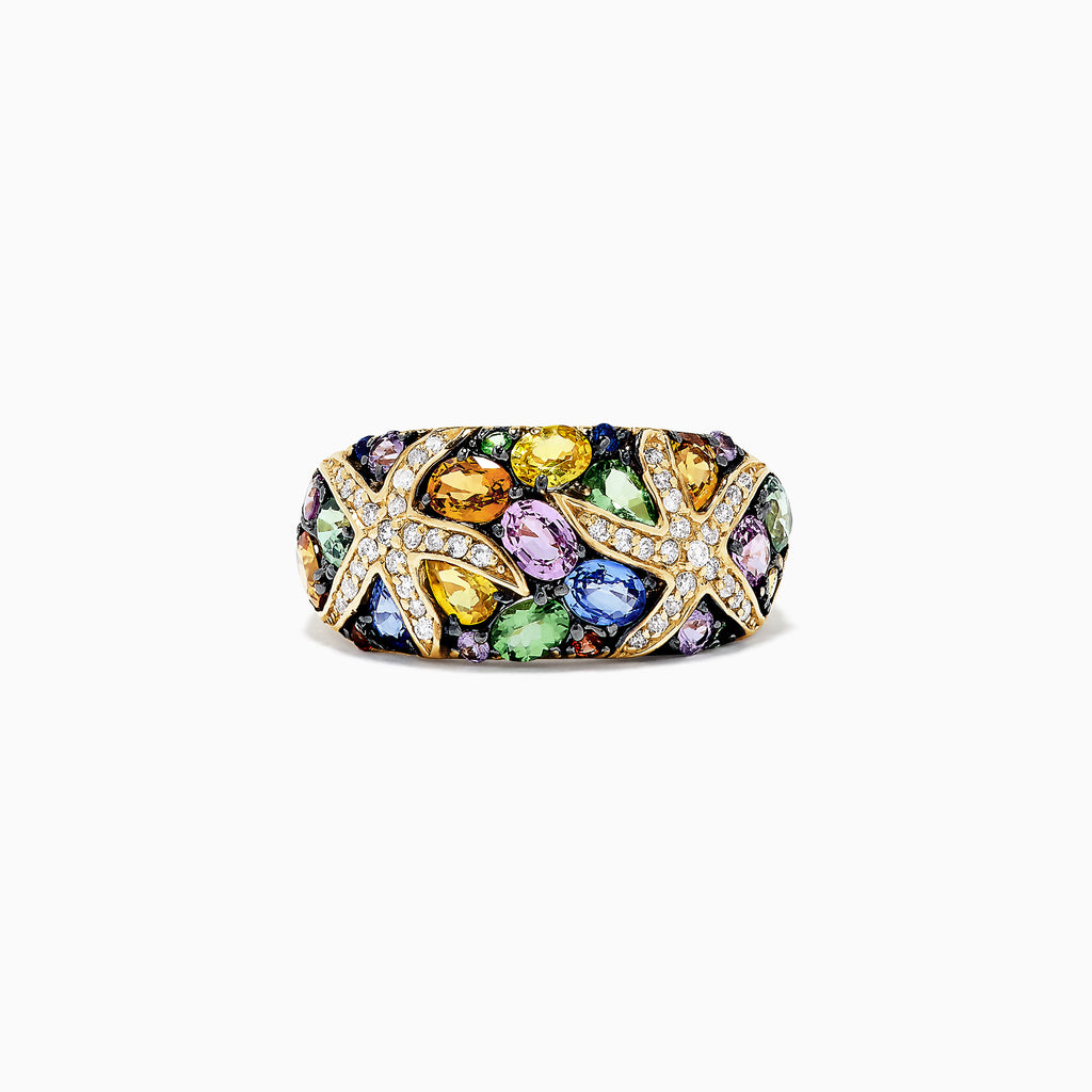 Effy Watercolors 14K Yellow Gold  Multi Sapphire and Diamond Ring, 3.75 TCW