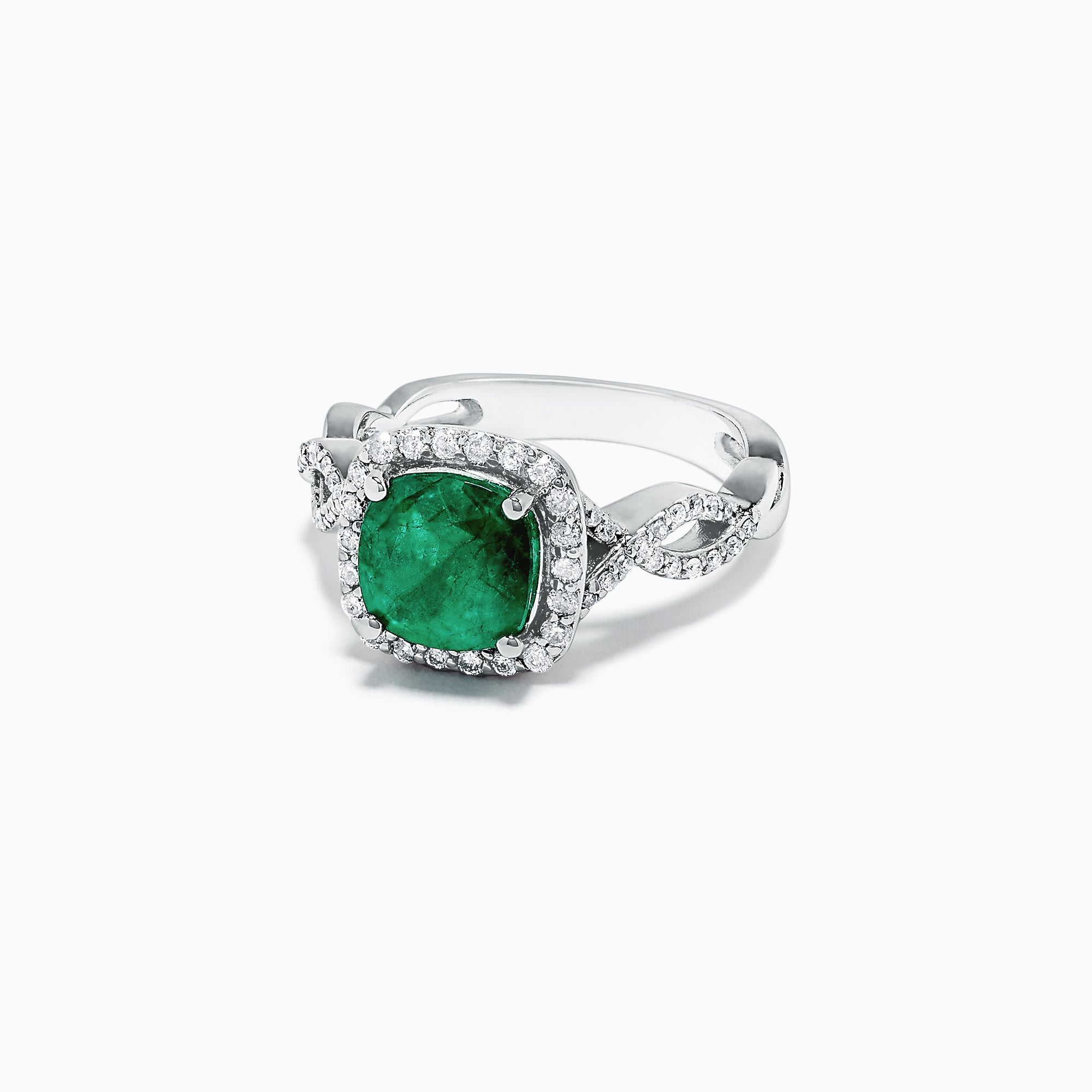 Effy 14K White Gold Emerald and Diamond Ring, 2.17 TCW