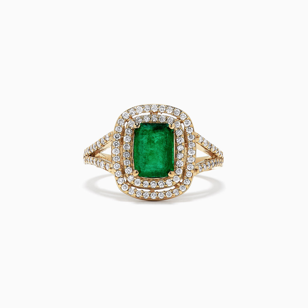Effy Brasilica 14K Yellow Gold Emerald and Diamond Ring, 1.88 TCW