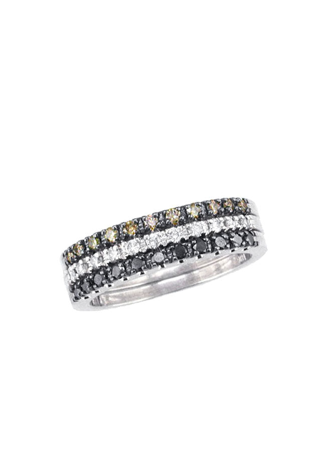 Effy Confetti 14K White Gold Cognac, Black and White Diamond Ring, .50 TCW