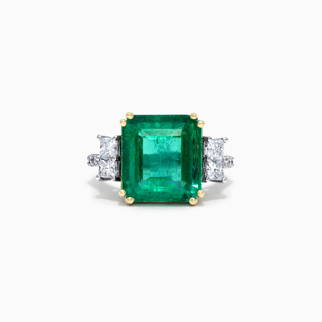Effy Hematian 18K Two Tone Gold Fine Emerald and Diamond Ring, 9.63 TCW
