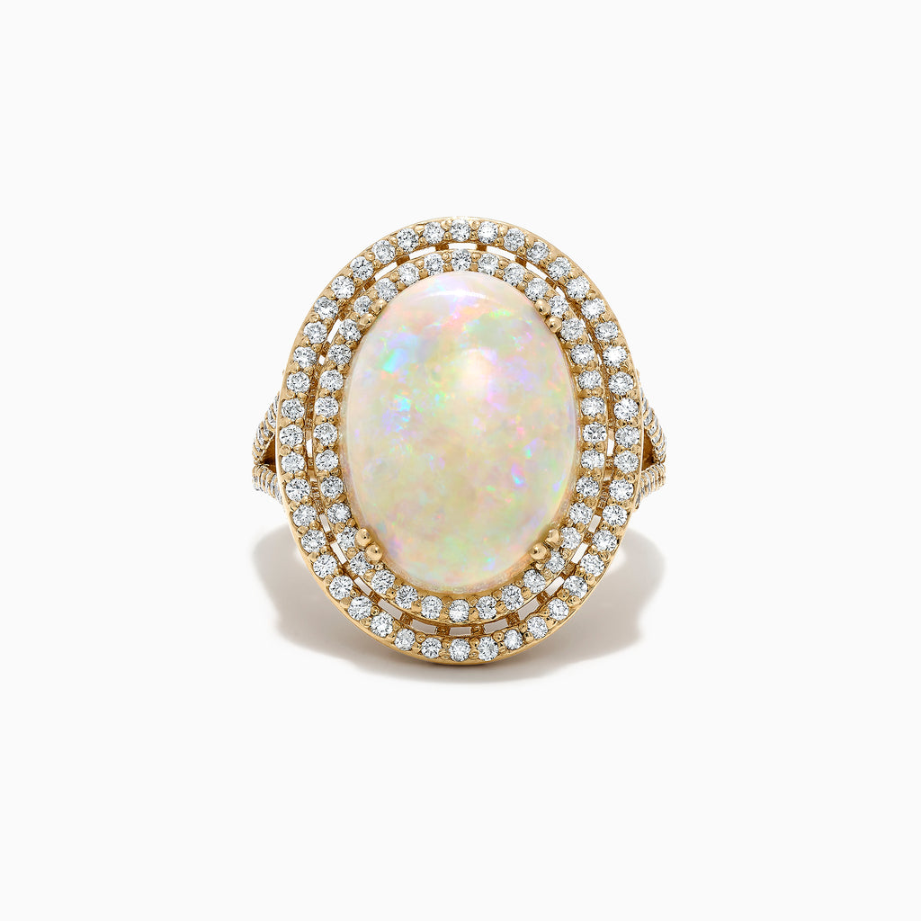 Effy Aurora 14K Yellow Gold Opal and Diamond Cocktail Ring, 5.91 TCW