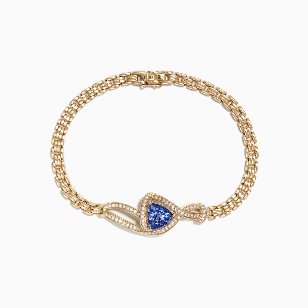 Effy 14K Yellow Gold Tanzanite and Diamond Bracelet, 2.68 TCW
