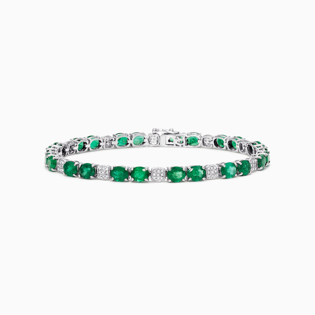 Effy Brasilica 14K White Gold Emerald and Diamond Bracelet, 8.19 TCW
