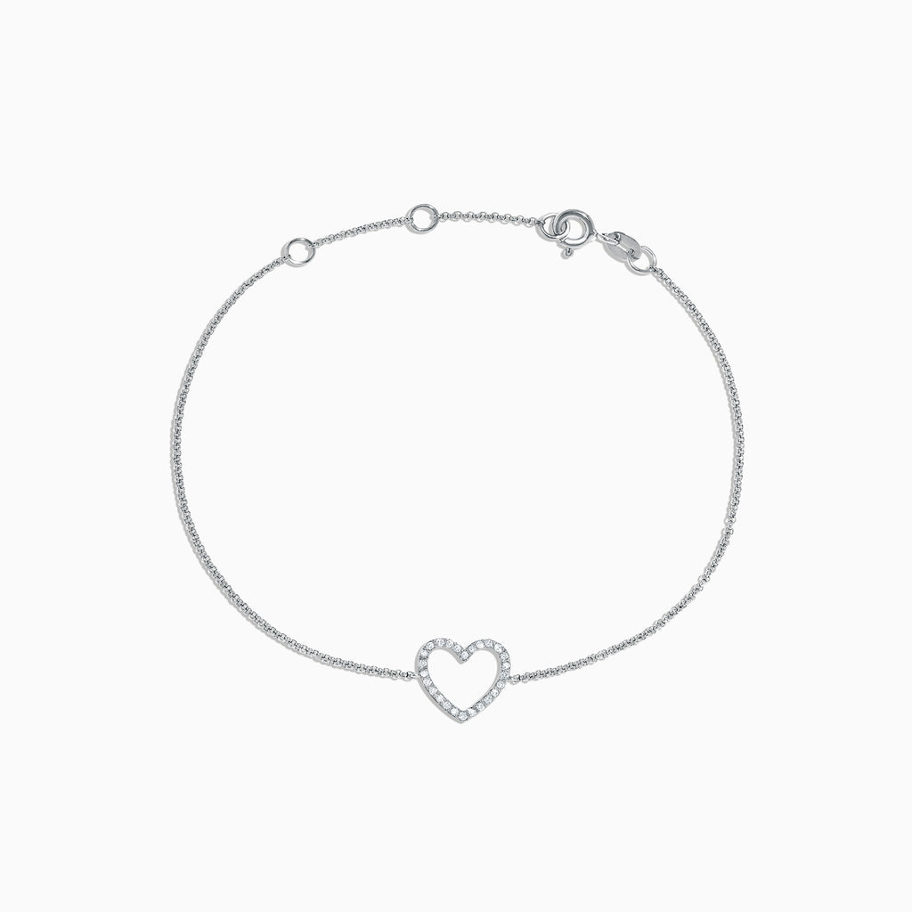 Effy Novelty 14K White Gold Diamond Heart Bracelet, 0.10 TCW