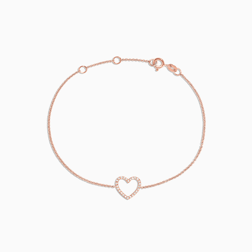 Effy Novelty 14K Rose Gold Diamond Heart Bracelet, 0.10 TCW
