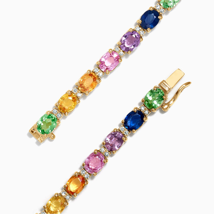Effy Watercolors 14K Gold Multi Sapphire and Diamond Bracelet, 8.96 TCW