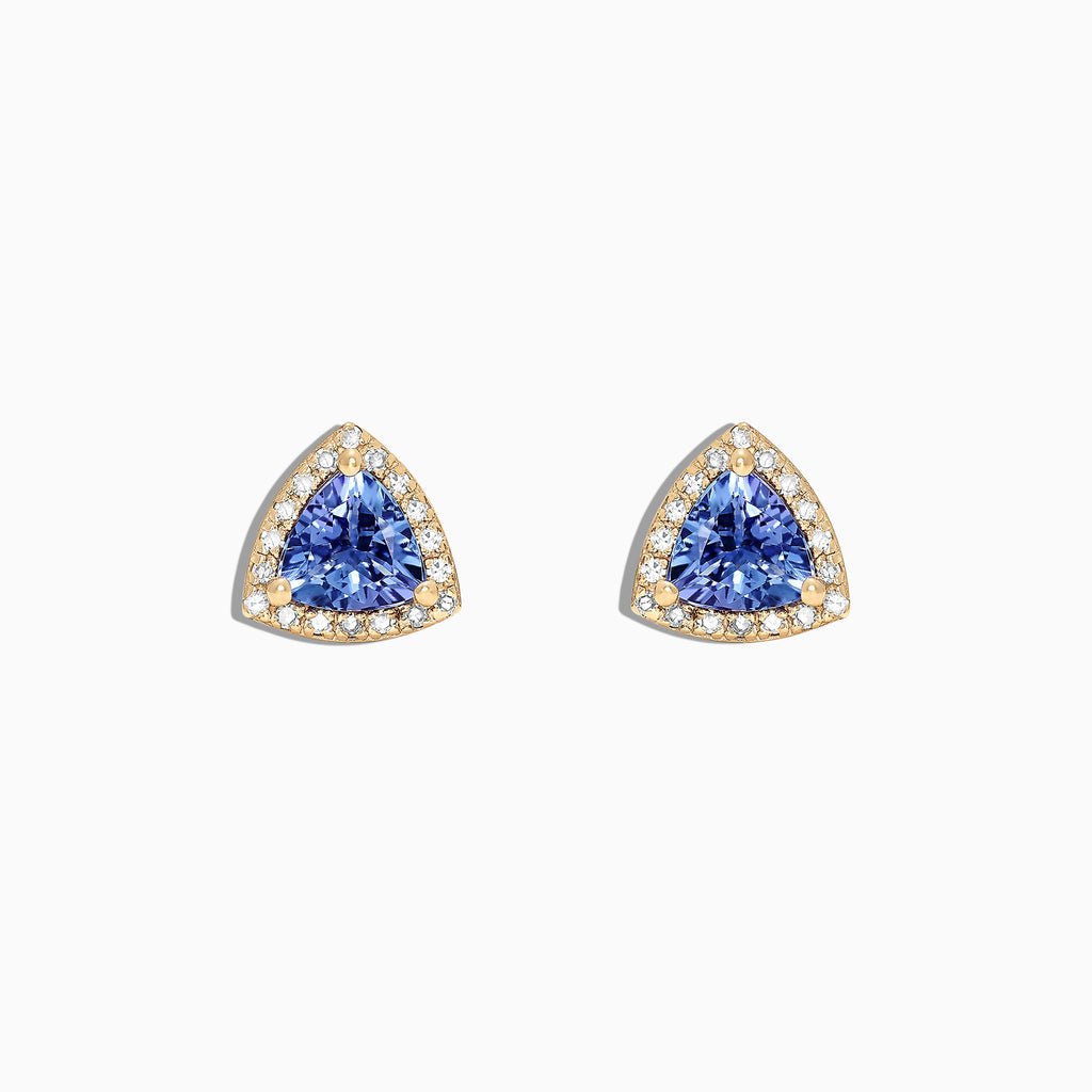 Effy Tanzanite Royale 14K Yellow Gold Tanzanite and Diamond Stud Earrings, 1.19 TCW