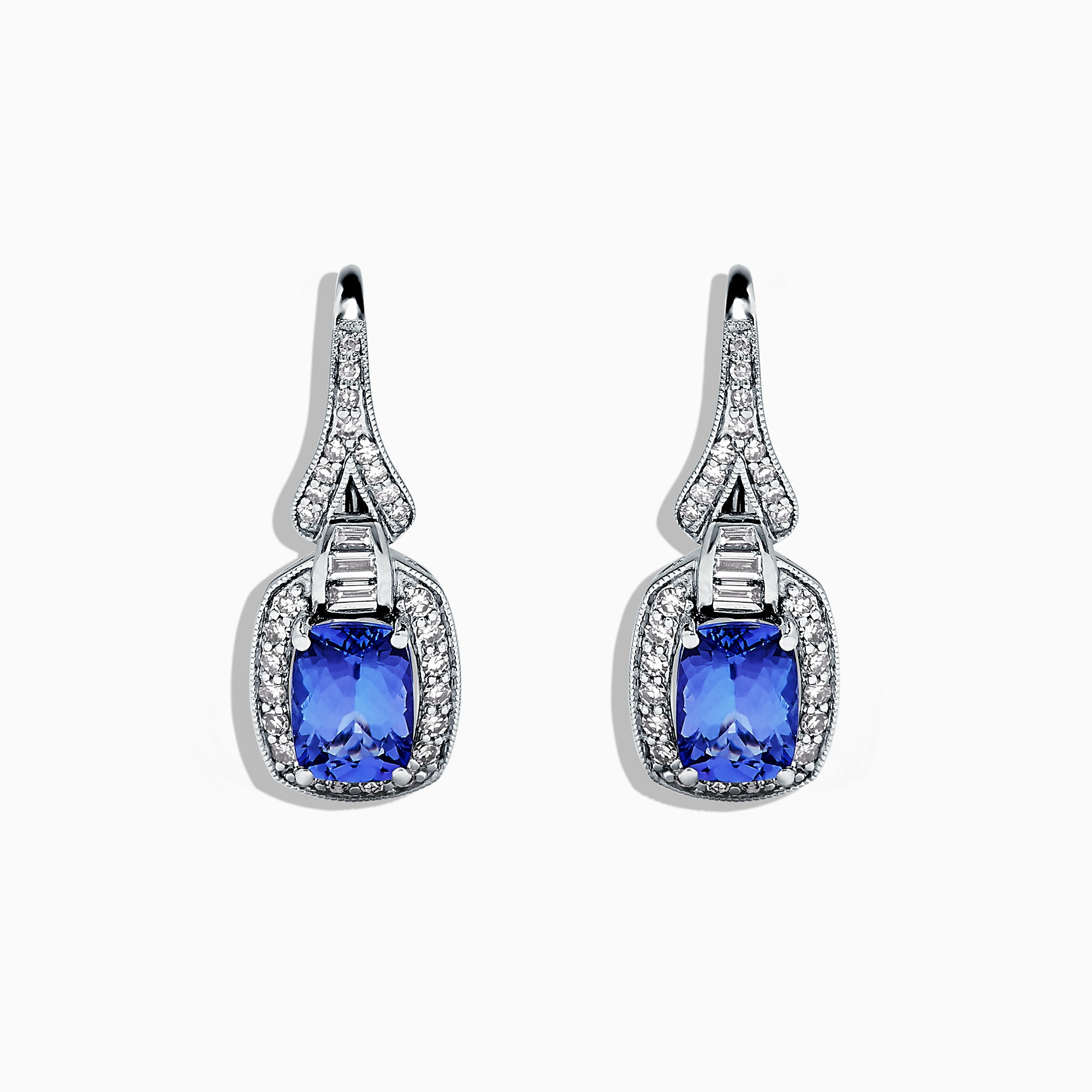Effy Tanzanite Royale 14K White Gold Tanzanite & Diamond Earrings, 2.06 TCW